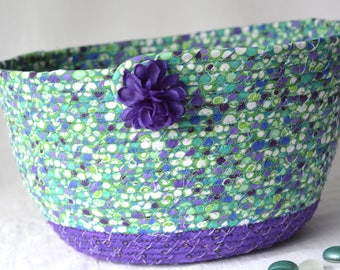 Green Bread Basket, Handmade Napkin Holder, Hand Coiled Knitting Basket, Green and Purple Fabric Basket, Modern Chic Fabric Bowl
