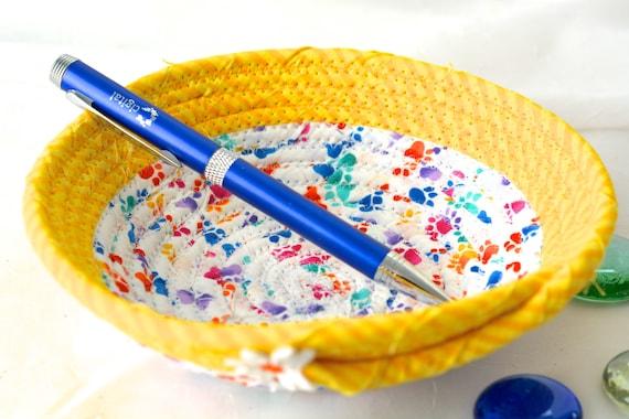Easter Gift Basket, Fun Ring Dish Bowl, Handmade Fabric Basket, Artisan Quilted Basket, Cat Paw Print Bowl, Desk Accessory Bowl