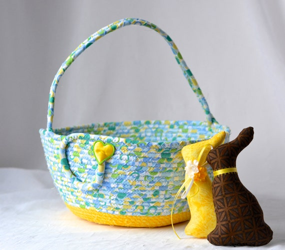 Boy Easter Basket, Handmade Blue and Yellow Easter Bucket, Baby First Easter Basket, Easter Decoration, Artisan Quilted Basket