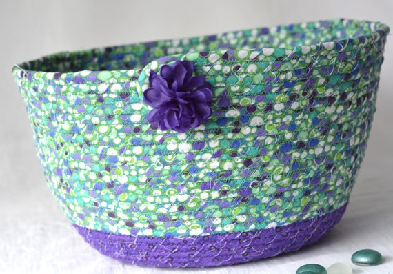 Purple Remote Basket, Handmade Napkin Holder, Hand Coiled Knitting Basket, Green and Purple Fabric Basket, Modern Chic Fabric Bowl