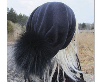 Real Fur Pom Pom Hats Cashmere Slouchy Beanie 100% Pure Cashmere Bobble Hat Solid Black Womens Baggy Back Tam A49 C POM