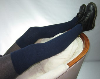 Tall Thigh High Socks Linen/ Cotton Over the Knee Leg Warmers Navy Blue Heather Footless Boot Socks A1864