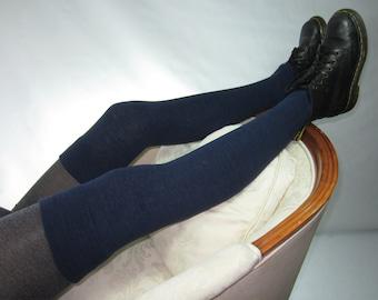 Tall Thigh High Socks Linen/ Cotton Over the Knee Leg Warmers Navy Blue Heather Footless Boot Socks A1864