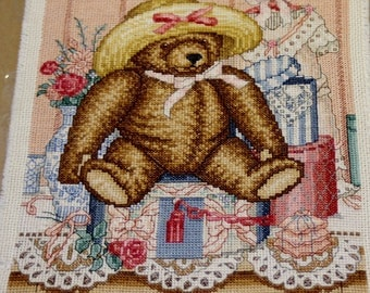 Completed Teddy Bear Cross Stitch