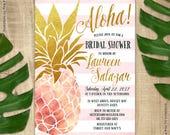 Pineapple Invitation, Bridal Shower Invitation, Pink and Gold Pineapple Invitation, Aloha Luau Hawaiian Printable Invitation