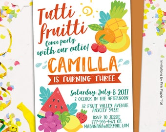 Tutti Fruitti Birthday Invitation, Tropical Fruits Pineapple Watermelon Orange Lemon Stawberry Birthday Party Invitation