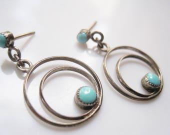 Southwestern Earrings, Sterling Silver and Turquoise Hoop Dangle Earrings