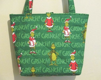 Grinch Purse/Tote, Christmas Purse/Tote, quilted