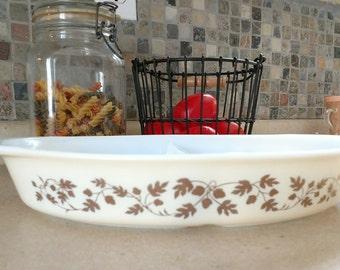 Vintage Pyrex Gold Acorn Divided Cinderella Casserole Dish