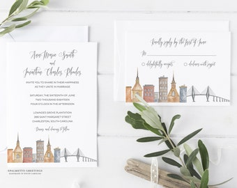 Charleston South Carolina Wedding Invitations, SC Wedding Invites with Charleston Skyline and Ravenel Bridge by Palmetto Greetings