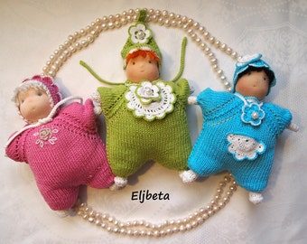 Three little Waldorf dolls-butterfly