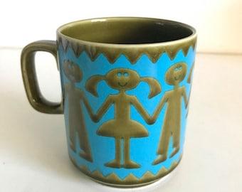 Hornsea Mug 1970s HTF Children Holding Hands