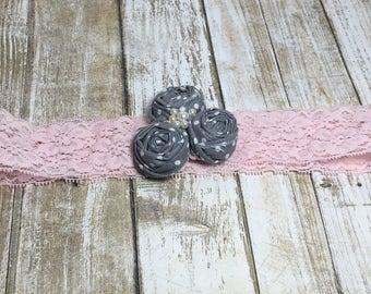 Gray and Pink Lace Headband, Toddler, Teen, Adult Headband