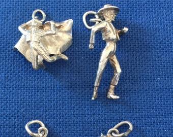 Five Random Miniature Silver Charms,  with Spanish Theme 'c1930
