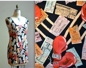 15% OFF SALE Vintage Silk Dress by Nicole Miller with Boxing NYC Tickets Print Size Medium Large