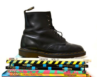 Amazing 90s Black Dr. Martens Boots Size Women 8 8 1/2 9 // Vintage Doc Marten Black Boots Size 6 UK Made in England