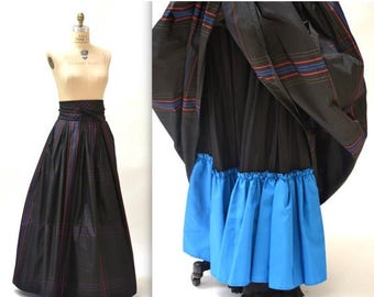 ON SALE Vintage Black Ball Gown Skirt size Small Medium Silk Plaid// Black Gown Long Skirt with Crinoline Skirt Size Small Medium