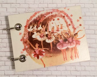 Recycled  Notebook - Handmade Journal - Upcycled Children's Book - Large Notepad - Refillable Notepad - Ballerinas in Pink