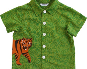 Boy's Summer Shirt, Tiger Shirt, Safari Shirt, Green Cotton Print Handmade Shirt, tiger in the Grass Shirt