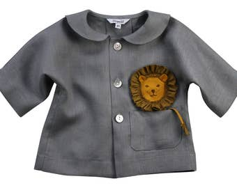Baby Lion Shirt// Handmade Linen Lion Jacket// Lion in my Pocket Topper// Baby Boys Heirloom Clothing// Sailor Collar Top// Baby Girl Top