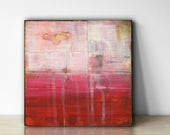 "Abstract Painting: 6x6"" (15.2 cm) Original Mixed Media Art, Abstract Landscape Painting, Abstract Art, Pink, Red, White, ""Crimson"""