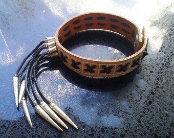 Spiked Tassel Leather Cuff