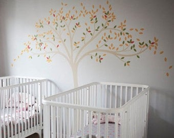 Fall Tree Extended Wall Decal by LittleLion Studio: Light Beige Tree Trunk, Dark Yellow, Olive Green and Dark Orange Leaves