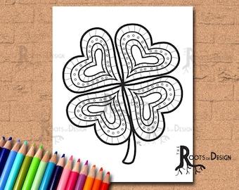 INSTANT DOWNLOAD Coloring Page - Four Leaf Clover/ Shamrock Print zentangle inspired, doodle art, printable