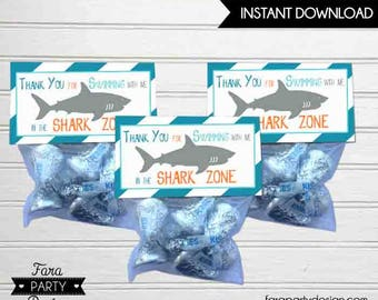 Shark Birthday Party Printable Folding Favor Tags by Fara Party Design |Shark Under the Sea Party |Boy Birthday | Mini Treat Bag Toppers