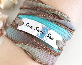 Sun Sand Sea, Beach Style, Beach Bracelet, Silk Wrap Bracelet, Boho Jewelry, Boho Bracelet, Beach Boho, Coastal Jewelry, Beach Jewelry