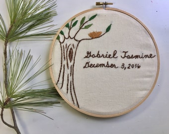 Personalized Child Name Birth Date Embroidery Hoop. Baby shower. Wall Art. Baptism. New Baby Gift. Nature inspired Nursery.