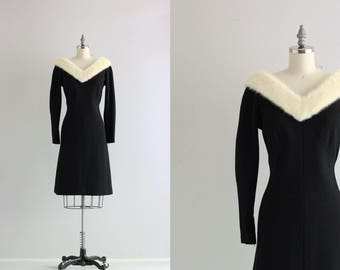 Fur Collar Dress . Retro Wool Wiggle Dress . Black and White Cocktail Dress