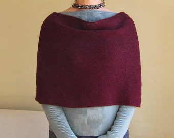 infinity scarf wrap cowl snood knit in wine alpaca