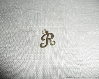 Vintage 14k Yellow Gold Initial R Charm