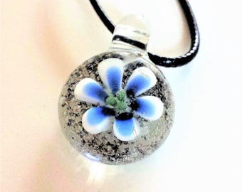 Cremation jewelry, From Ash to Wildflower. Hand blown glass memorial necklace.Cremation pendant.Pet memorial jewelry.Artful ash.Keepsake urn