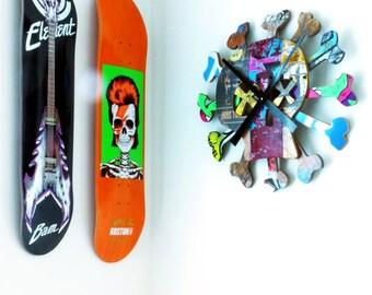 "Giant 20"" Skull and Bones Skateboard Wall Clock. Boneless Skate Clock made from Recycled Skateboards by Deckstool."