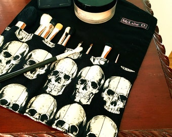 Skull Makeup Brush Roll