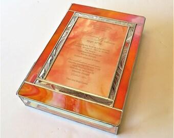 Stained Glass Keepsake Gift Box Bat Mitzvah Invitation 8x11x2 Custom Made Wedding Invitation Bride Groom Engagment