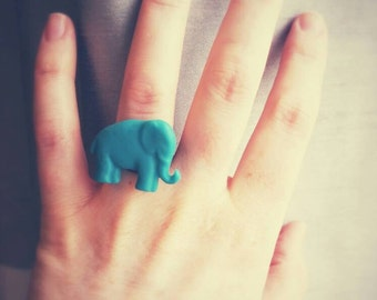 Elephant Ring, Choose your color, Resin Ring, Adjustable Band