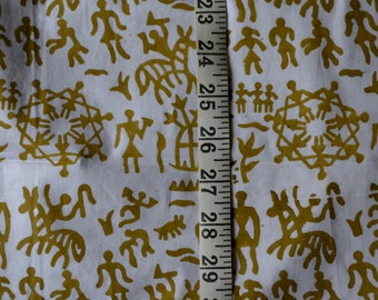 Handloom cotton fabric in mustard on white back ground - One yard