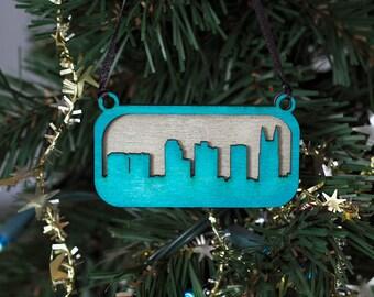 Nashville Skyline Ornament (Blue & Silver Laser Cut Wood) Holiday Gift / Christmas Cityscape Decor