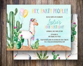 Watercolor Llama Birthday Party Invitation, Fiesta Birthday Party Invite, Printable Watercolor Llama Birthday Invite in Green, Teal, Magenta