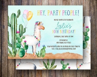 Llama Birthday Party Invitation, Fiesta Birthday Party Invite, Llama Birthday Invite, Balloons, Cactus, Green, Teal, Magenta