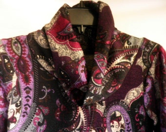 Cowl neck Paisley SWEATER, grays black and purples, women's small to medium