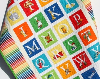 Dr Seuss Quilt, Bright Baby Boy or Girl, ABC Nursery Bedding, Kids Child Youth Blanket, Crib Cot Blanket, Modern Bright Colorful Rainbow