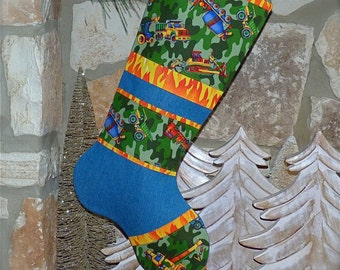 Construction Christmas Stocking ... Boys Christmas Stocking ... Big Truck Stocking ... Heavy Equipment Christmas Stocking