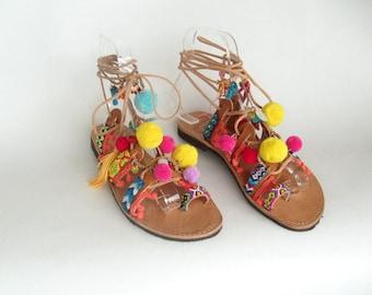 Pom pom Sandals Boho sandals Greek sandals pompom sandals , sandales pom pons
