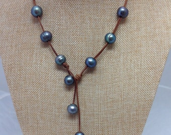 Nine BLUE PEARLS and LEATHER Necklace or bracelet