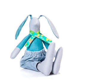 Easter bunny doll , fabric doll , Stuffed boy , rabbit doll , ragdoll toy , plush rabbit , bunny doll , rabbit hare toy , babyshower present