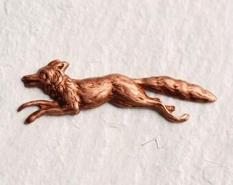 Red Fox Brooch ... Vintage Animal Pin Badge Copper